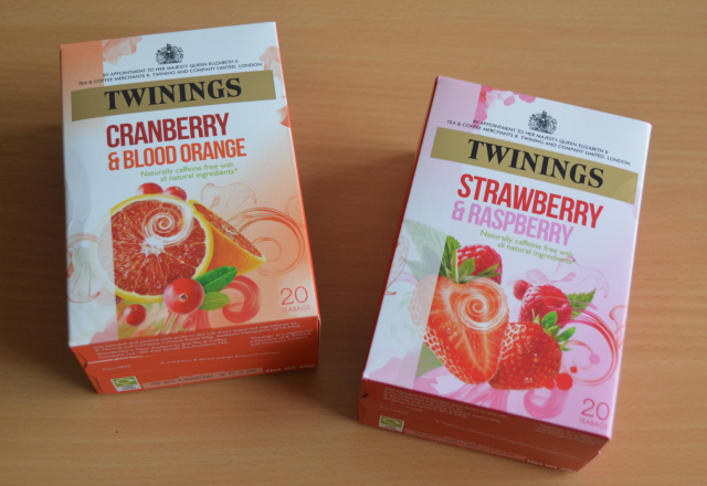 Twinings cranberry and blood orange tea, Twinings strawberry and raspberry tea, Twinings fruit teas,