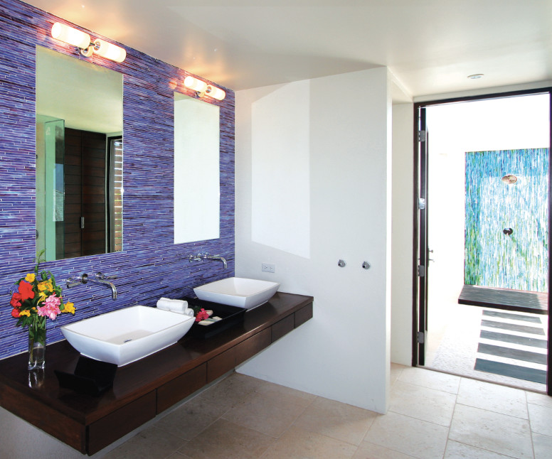 Blue mosaic tile bathroom
