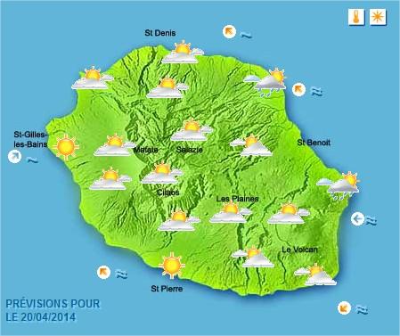 Prévisions météo Réunion pour le Dimanche 20/04/14