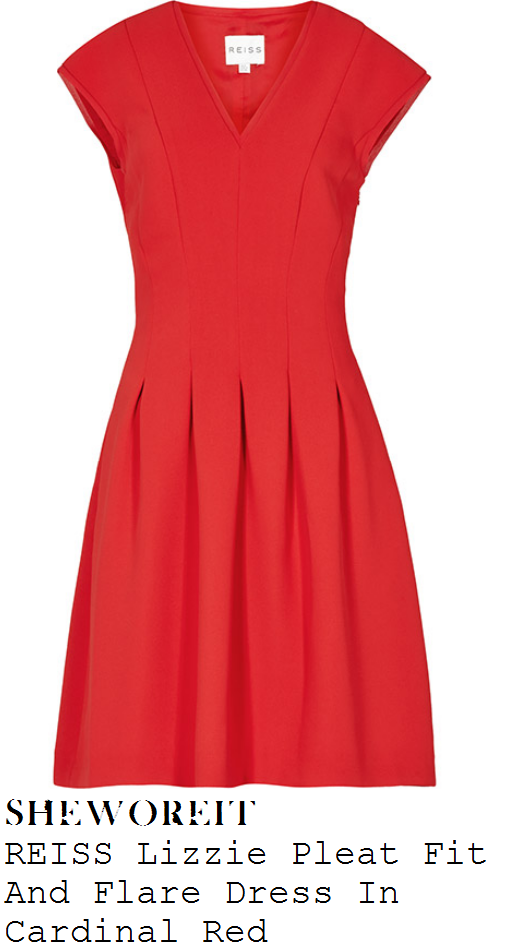 amy-willerton-bright-red-v-neck-cap-sleeve-pleated-fit-and-flare-dress-wimbledon