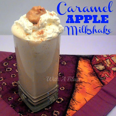 Caramel Apple Milkshake ~ Delicious Apple Milkshake with a hint of Cinnamon for extra flavor #Milkshake #AppleRecipe #CaramelRecipe