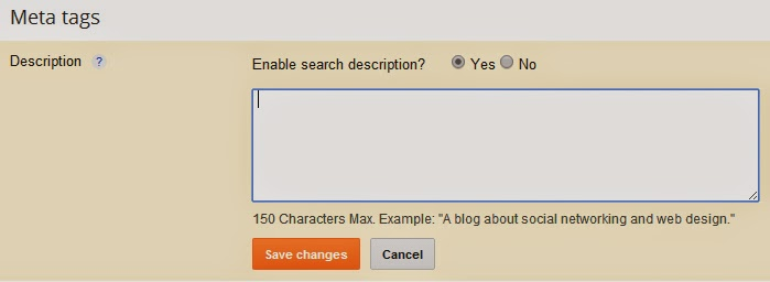 seo for blogspot blogger meta description