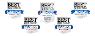 U.S. News and World Report ranking seals for SHSU online programs.