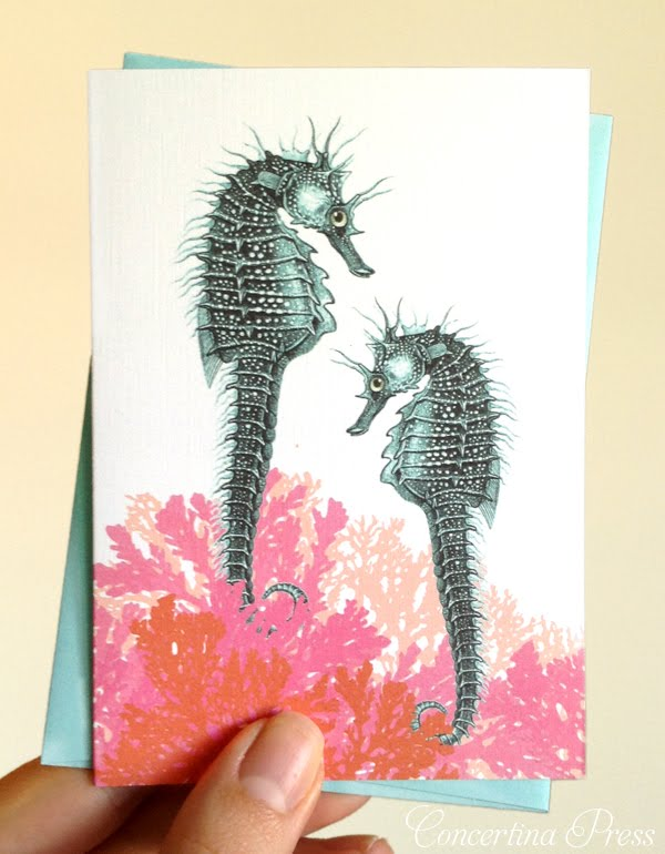 cute seahorse notecards, blank notecards with envelopes for writing notes, perfect beach wedding thank you notes by Concertina Press