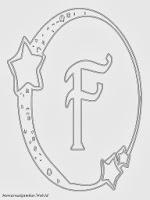 Mewarnai Gambar Huruf Alfabet F Bergaya Bulan Bintang