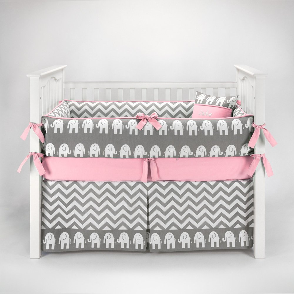 Baby girl bedding chevron - Pink And Grey Crib Bedding Sets For Baby Girls Nursery
