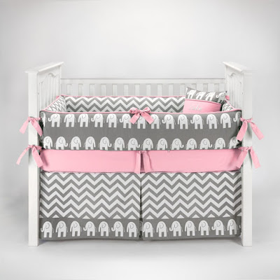 Total Fab Pink And Grey Crib Bedding Sets For Baby Girls