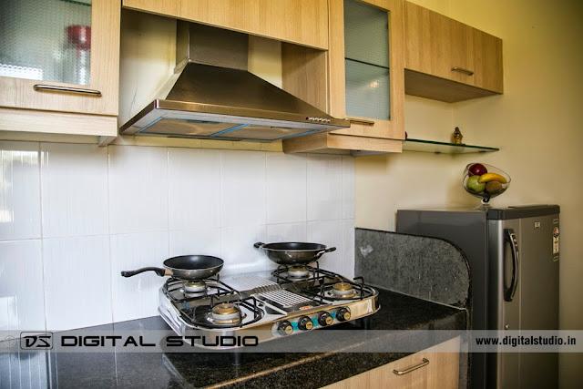 Sample kitchen setting with fridge