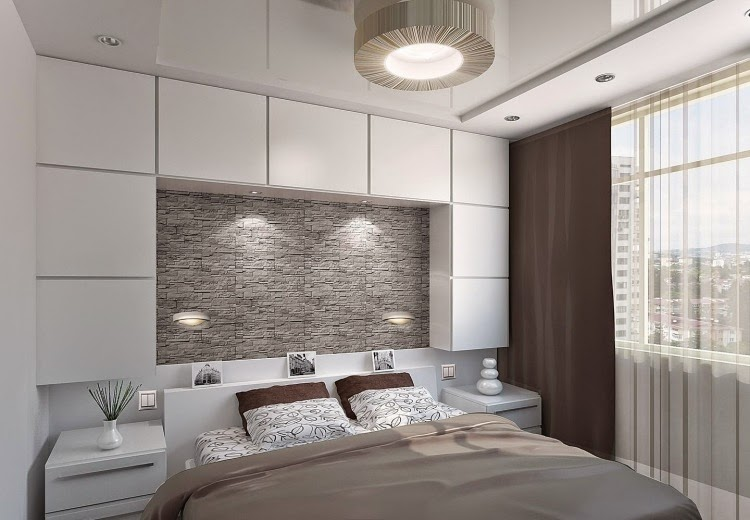 small modern bedroom designs: stone wall and wall mounted units .