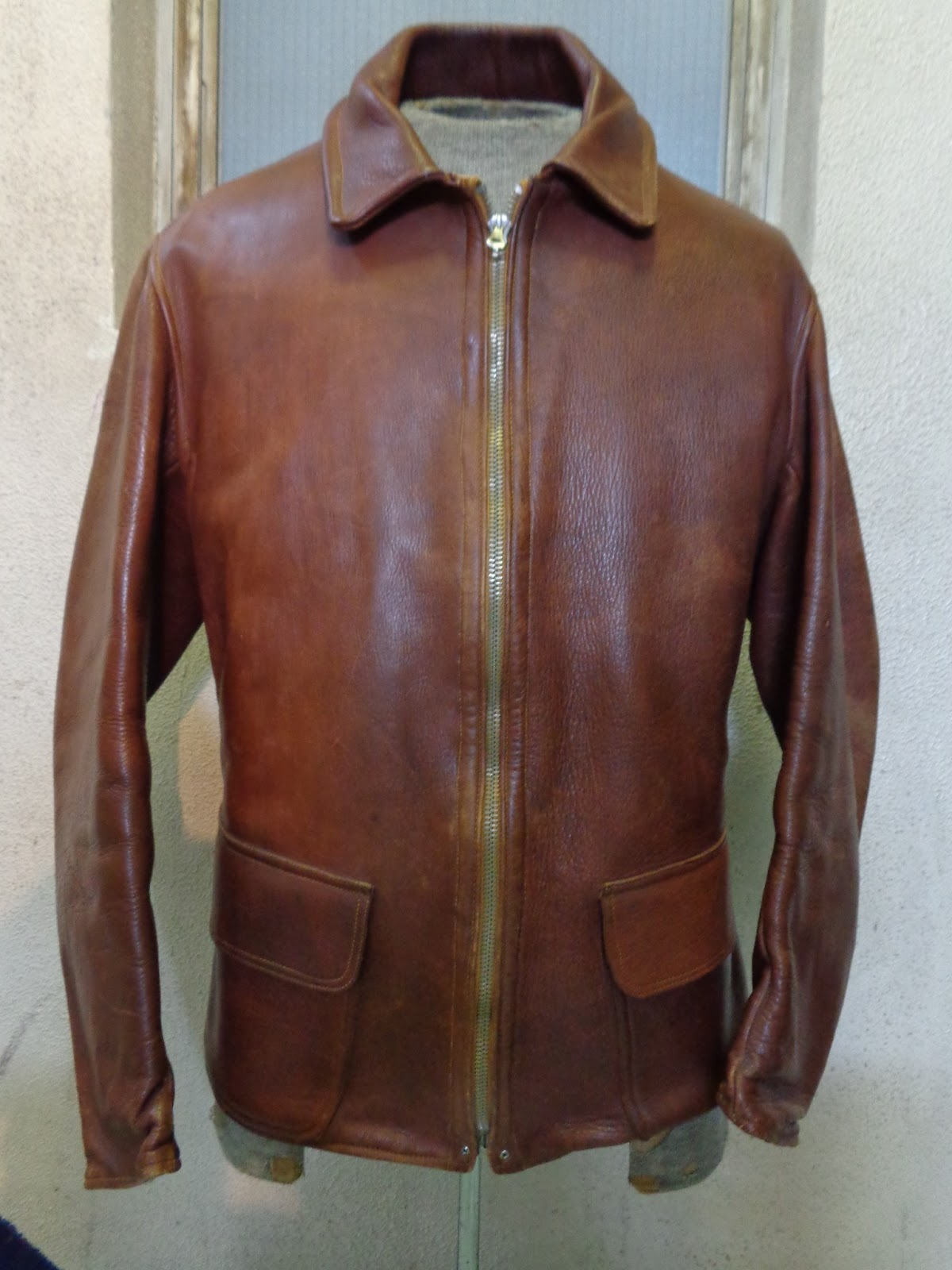"LEATHER JACKET WITH VERY OLD ""PRENTICE"" FASTENER"