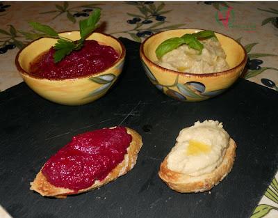 Hummus y hummus de remolacha