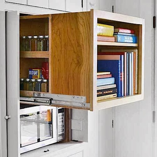 Home interior design and decorating ideas small space for Hidden kitchen storage ideas
