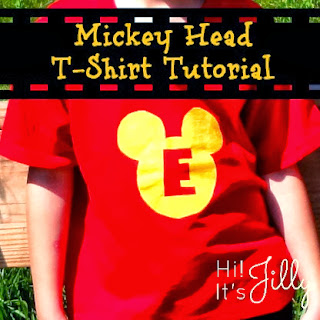 Personalized Mickey Head T-Shirt Tutorial from Hi! It's Jilly. Great for those Disney vacations, and SO easy to make!