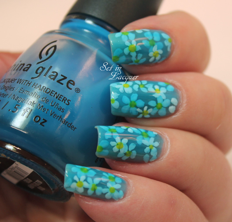 Floral pond nail art with China Glaze