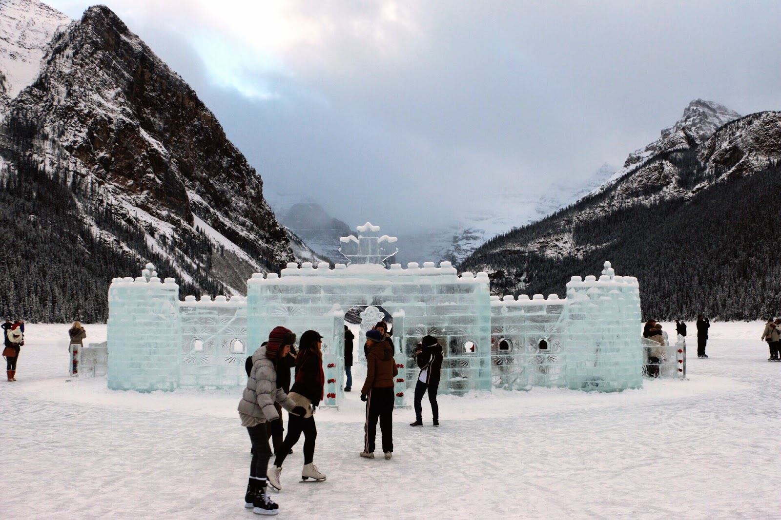 Ice castle and Ice-skating at Lake Louise in Alberta Canada by Jessica Mack aka SweetDivergence