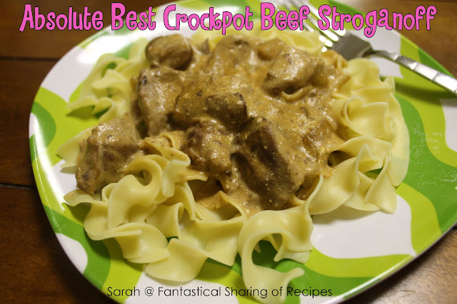 Absolute Best Crockpot Beef Stroganoff. Rich and creamy - will definitely knock the socks off your dinner guests! #beef #stroganoff #pasta
