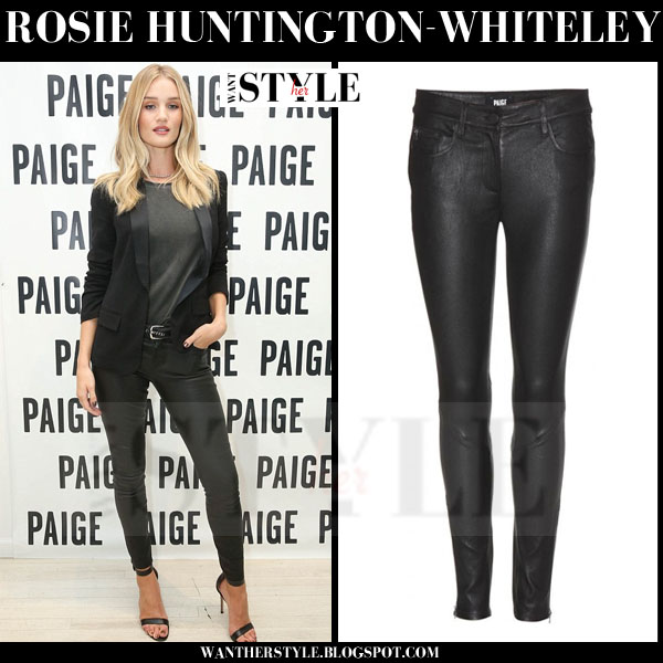 Rosie Huntington-Whiteley in black leather jeans paige denim verdugo what she wore