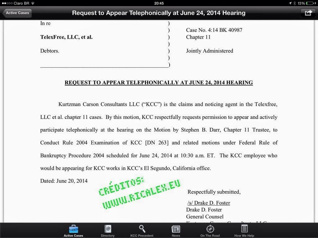 A KCC pediu formalmente á corte de Massachussets para participar ativamente na próxima audiência do dia 24 Junho.