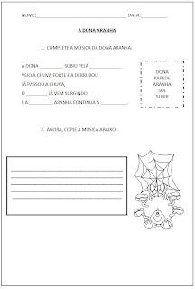 Atividade com Parlendas - A Dona aranha Letra - Complete a música A Dona Aranha
