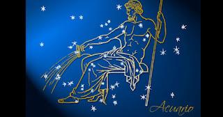 Signo de Acuario: hombre con cántaro y estrellas de fondo