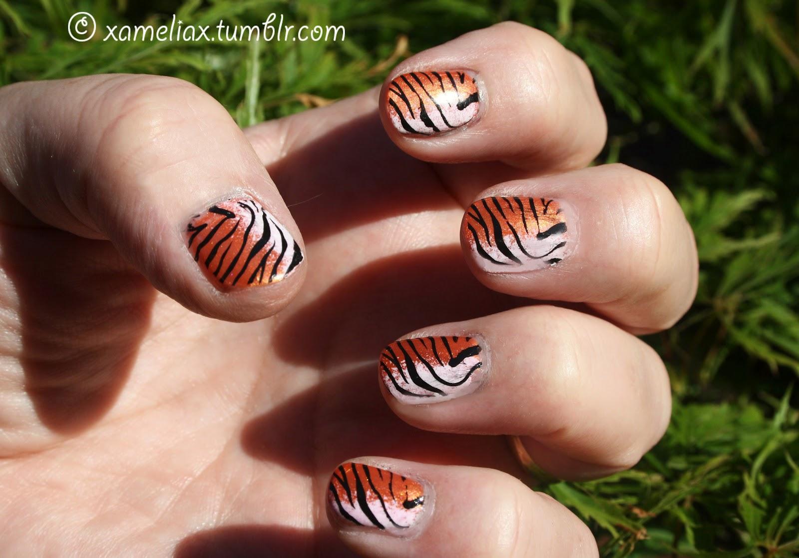 amelia paints nails tiger print nails tiger print nails prinsesfo Choice Image