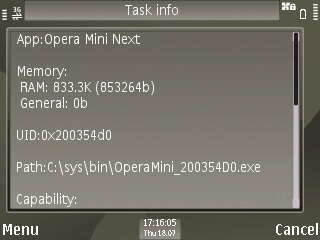 Opera Mini RAM Usage