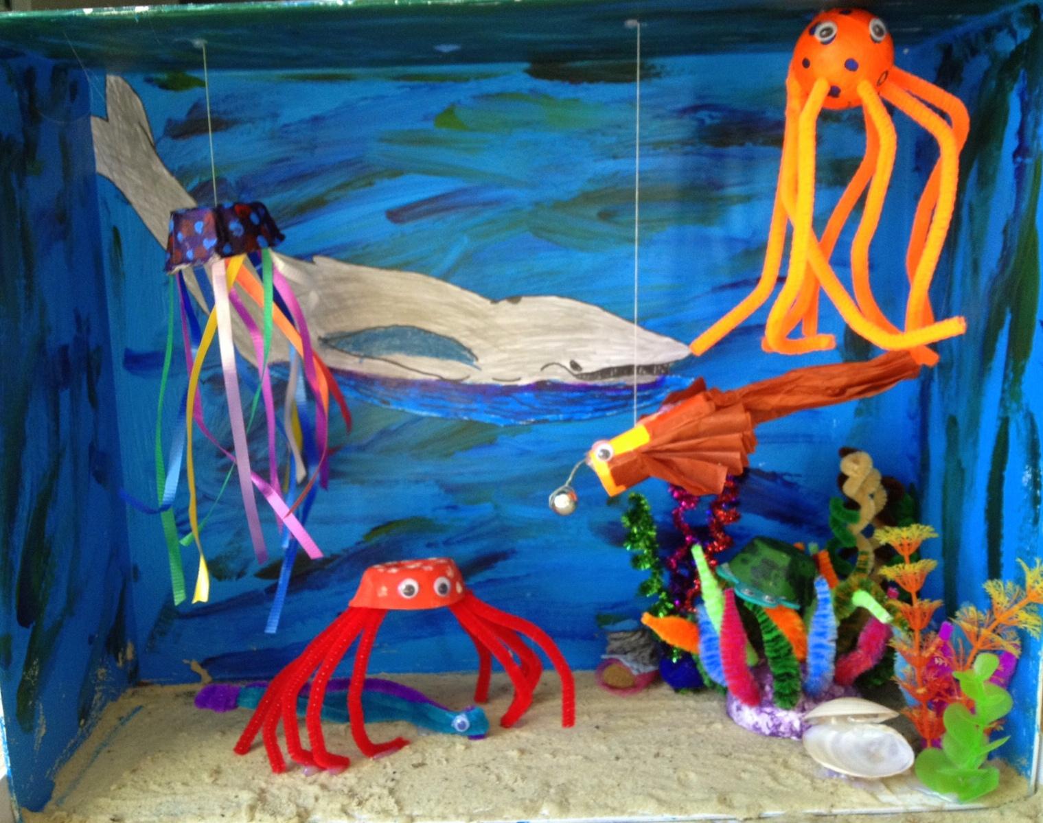 Ten Easy Ocean Diorama Crafts - Ocean floor painting