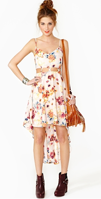 Nastygal Rosy Lattice Dress