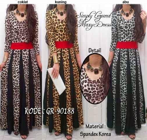 Jual maxi dress leopard