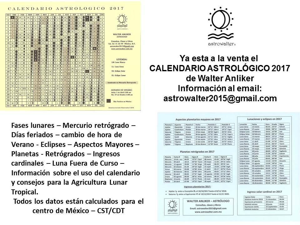 2017 CALENDARIO ASTROLOGICO DE WALTER ANLIKER