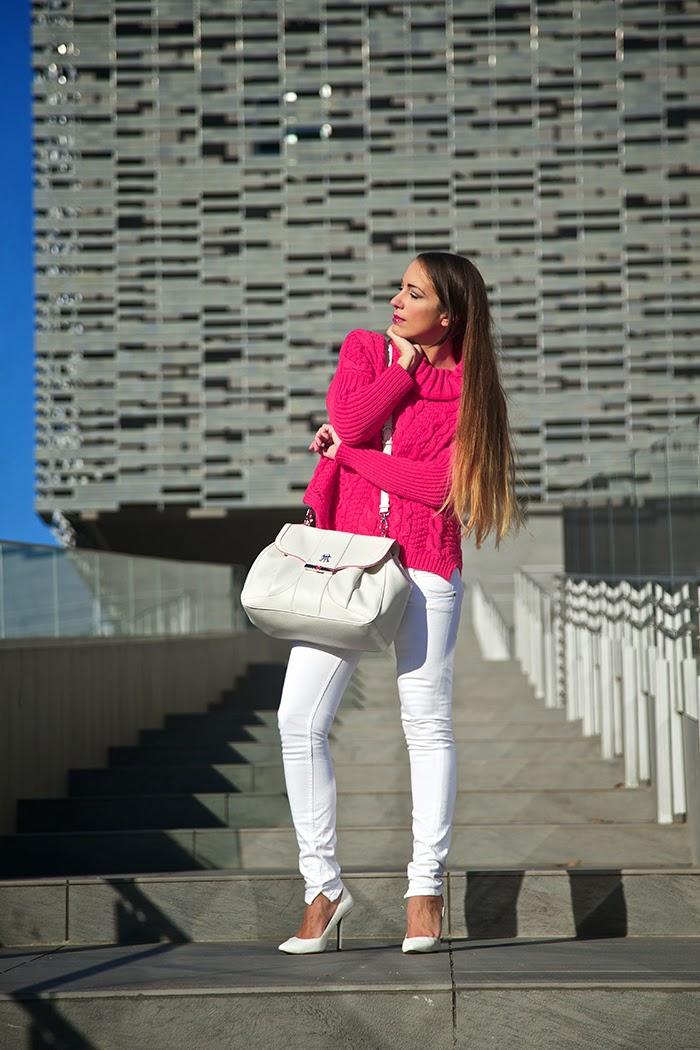 maglione lana rosa fuxia