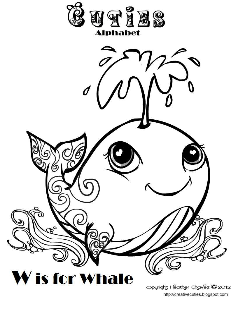 creative cuties whale coloring page