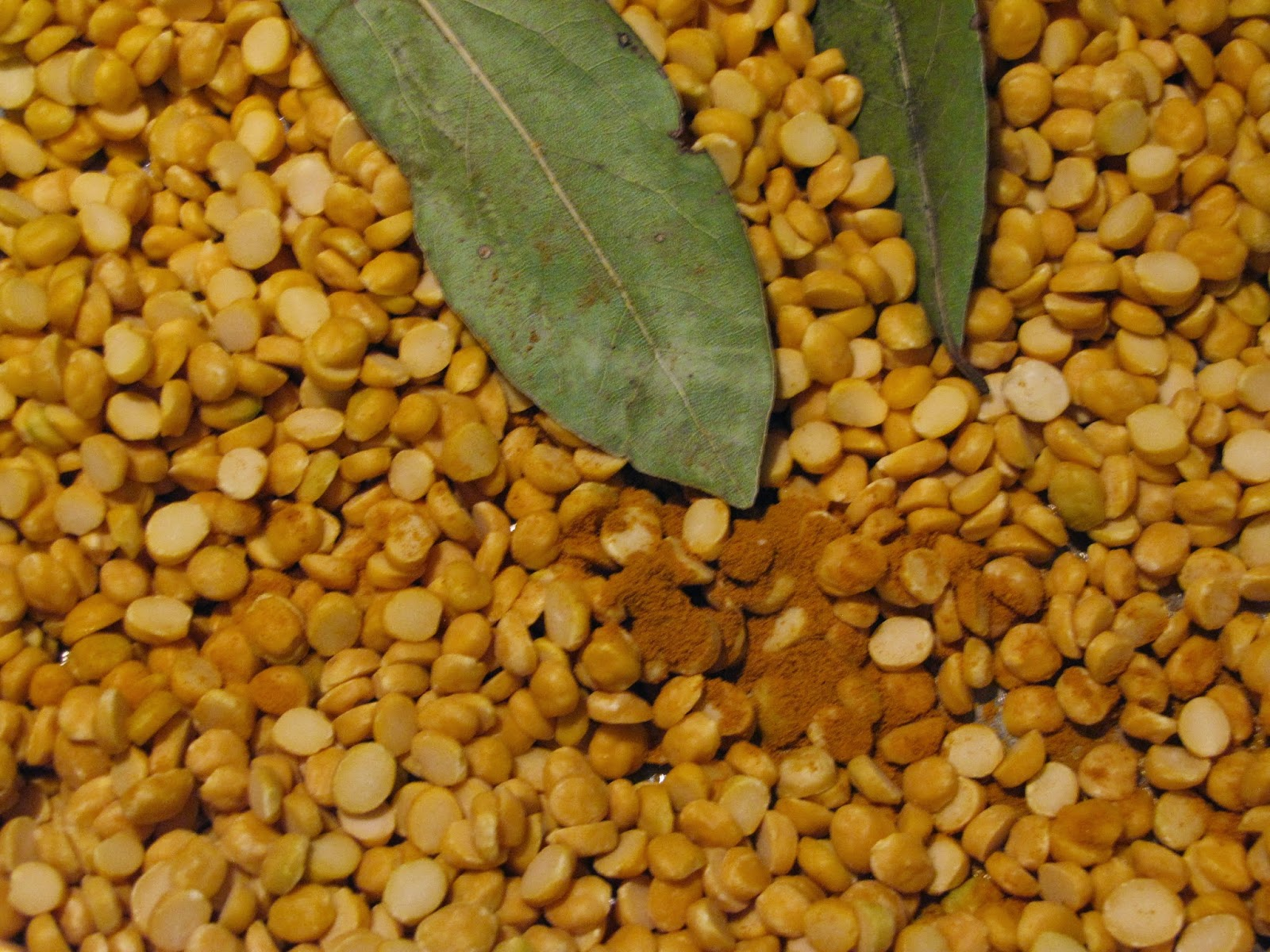 Chana Dal or Yellow Lentils with Bay Leaves and Turmeric