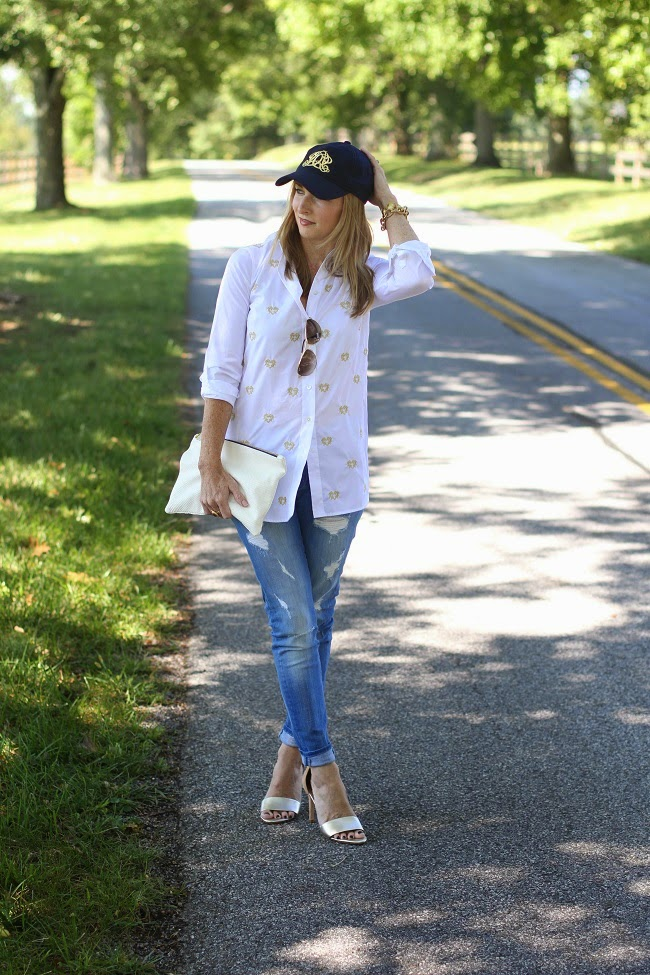 jcrew gold heart bullion shirt, 7FAM jeans, joie heels, jcrew wool cap