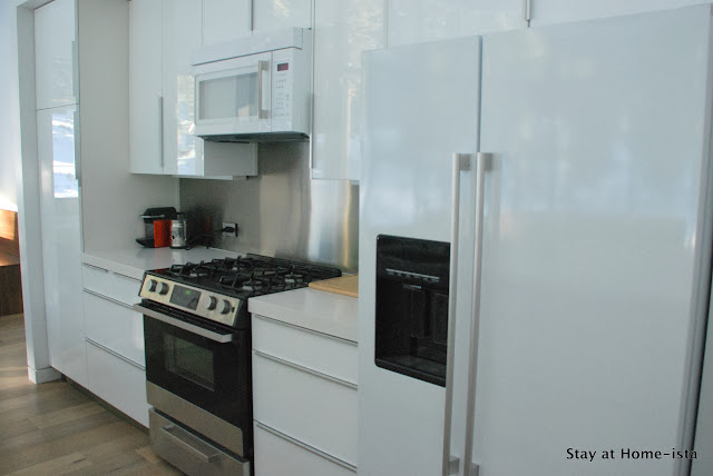 Ikea kitchen- all white with pops of color