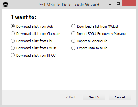 Frequency Manager Suite: Data Tools Wizard