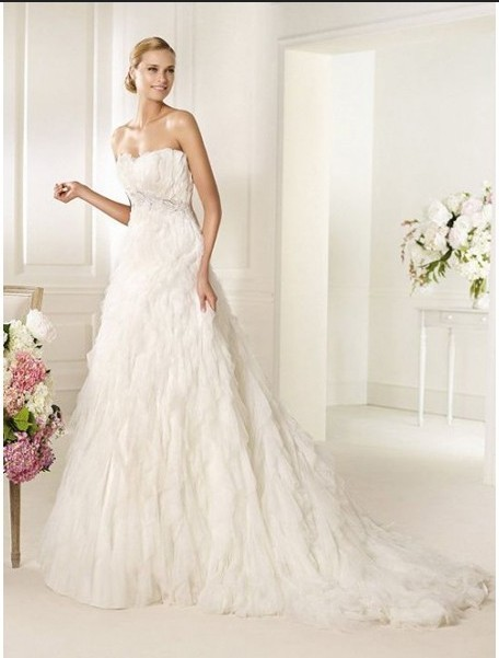 Fascinating White Count Train Bridal Gown In 2013 With Tiered Designed