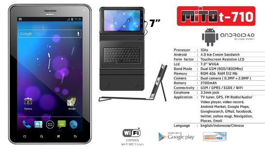 Mito T710, Tablet ICS, Dual SIM, Prosesor 1GHz, Plus TV,mito tablet pc, mito android