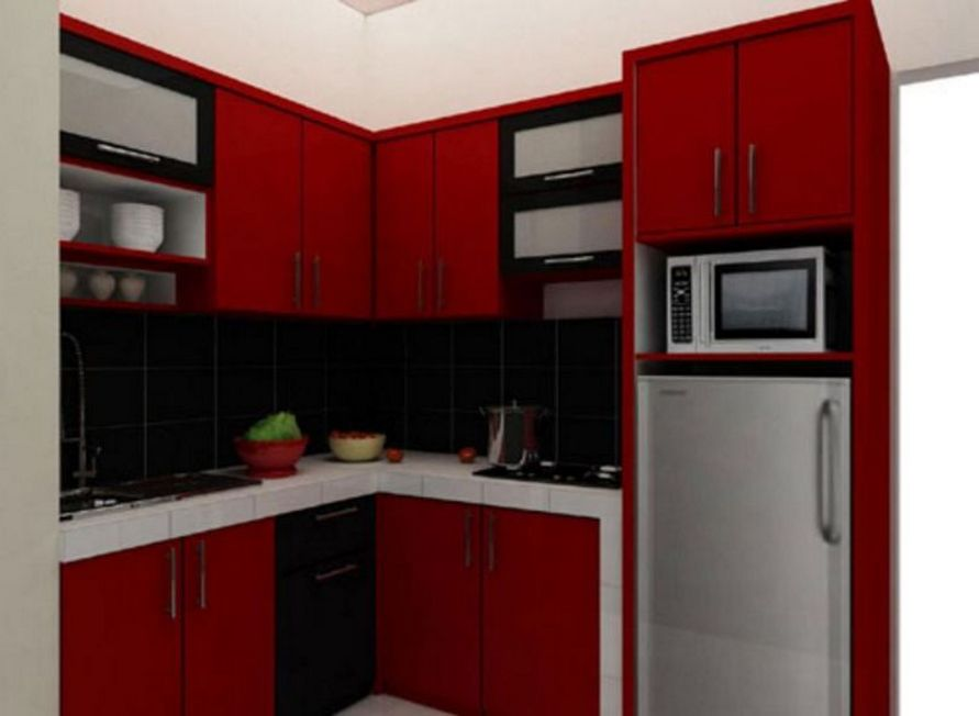 inspirasi desain dapur mungil apartemen tampak rapi