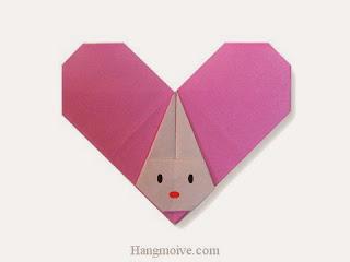 Cách gấp, xếp trái tim hình con thỏ bằng giấy origami - Video hướng dẫn xếp hình trái tim quà tặng - How to fold a Heart Rabbit