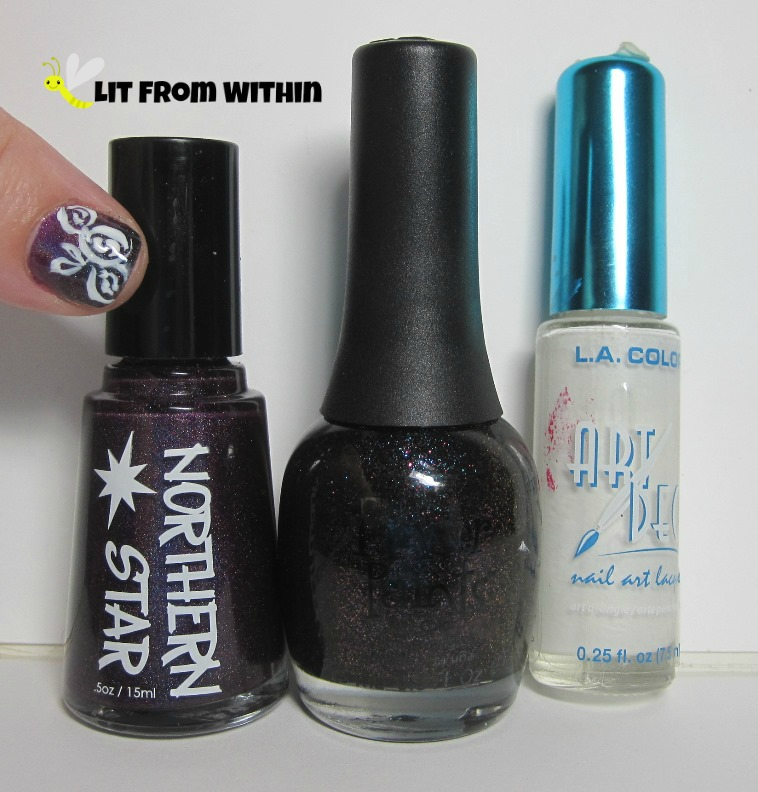 Bottle shot:  Northern Star Polish Yummy Plummy, Finger Paints Winter Chill, and a white striper.