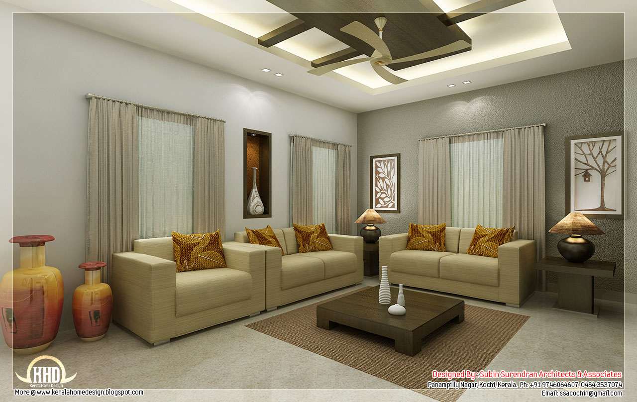 Awesome 3d interior renderings kerala house design idea for Sitting room interior design pictures