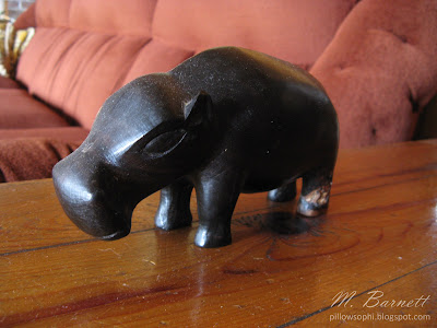 Vintage mid century modern wood hippo from Africa