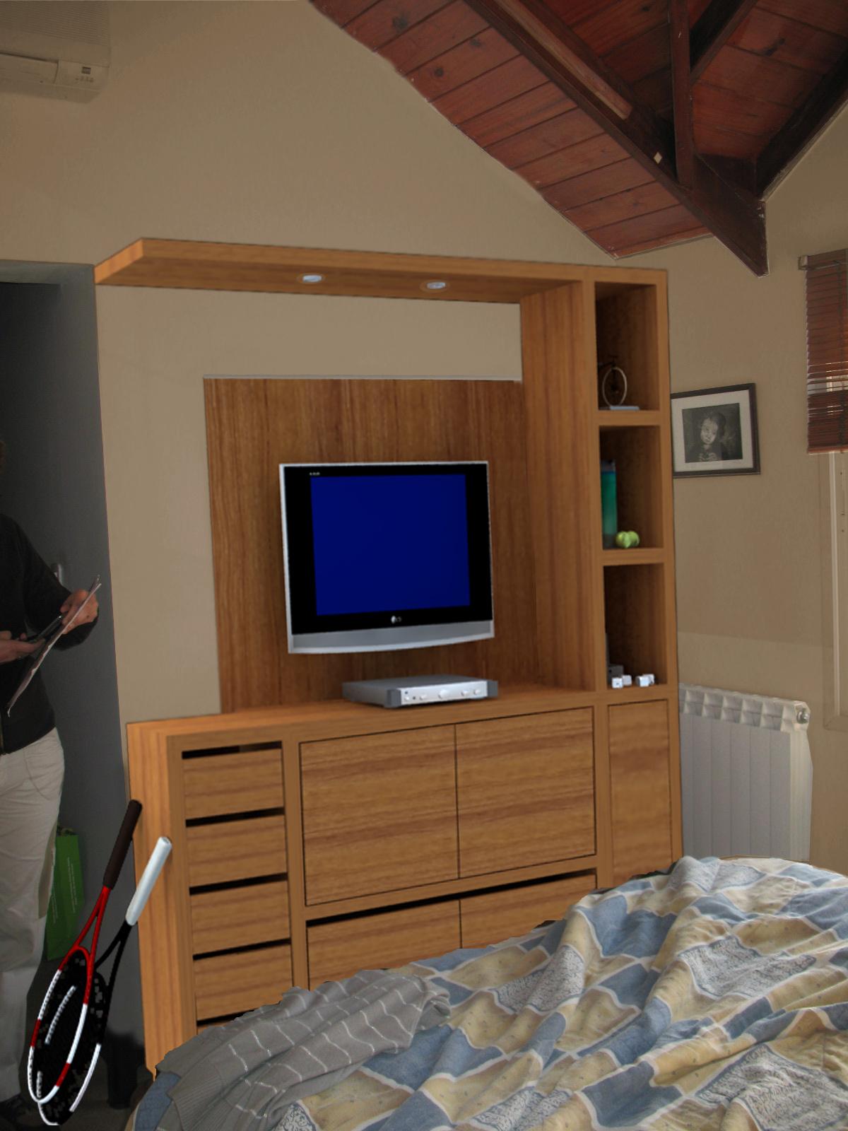 Grafica 3d dormitorio y mueble tv for Mueble tv dormitorio