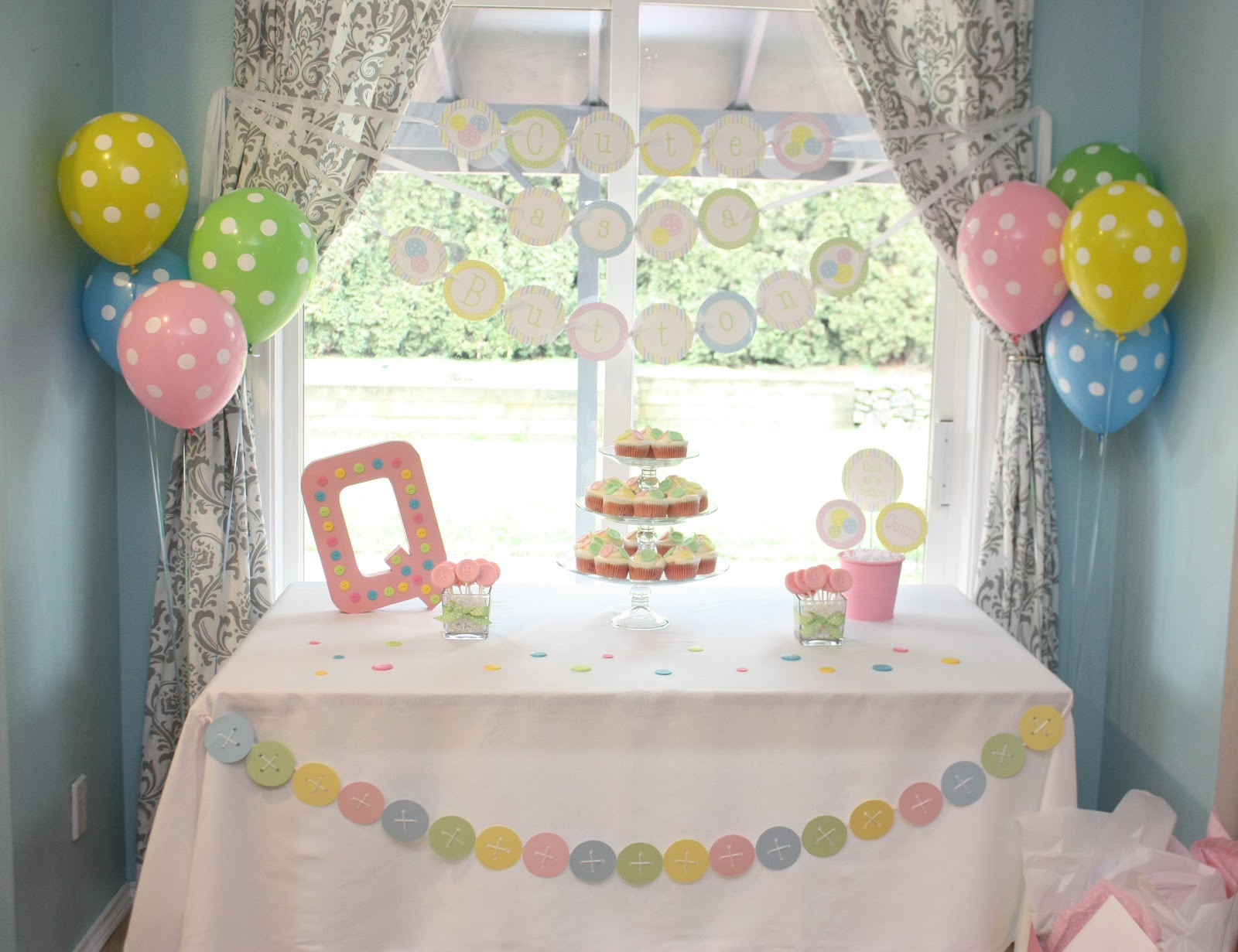 5M Creations Cute as a Button Baby Shower Birthday Party