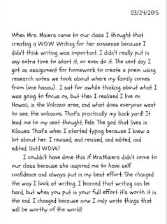 Image of students letter to Ms. Maiers