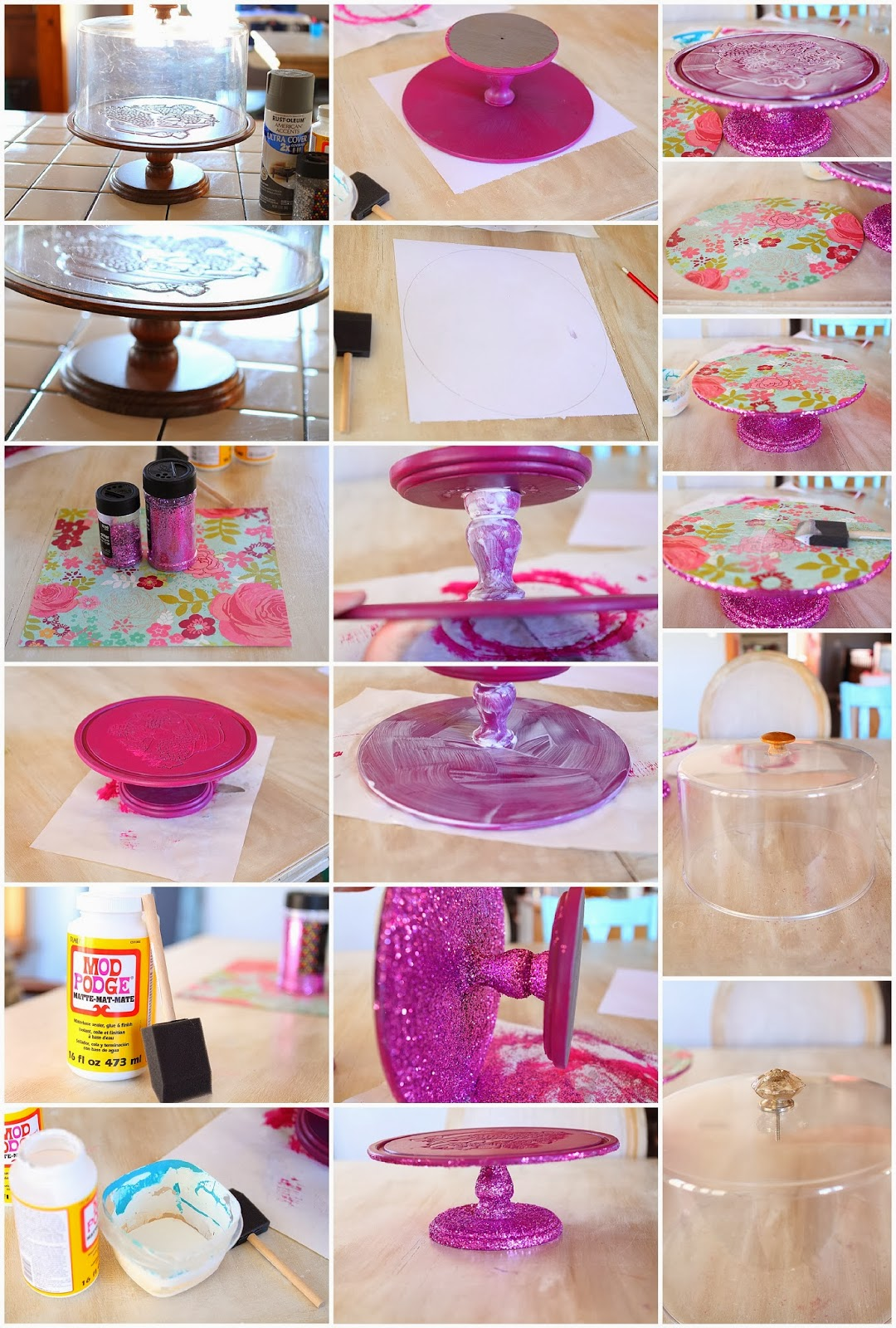This cake stand did not cost me a thing because I just rounded up all the  stuff I already had in my craft closet.