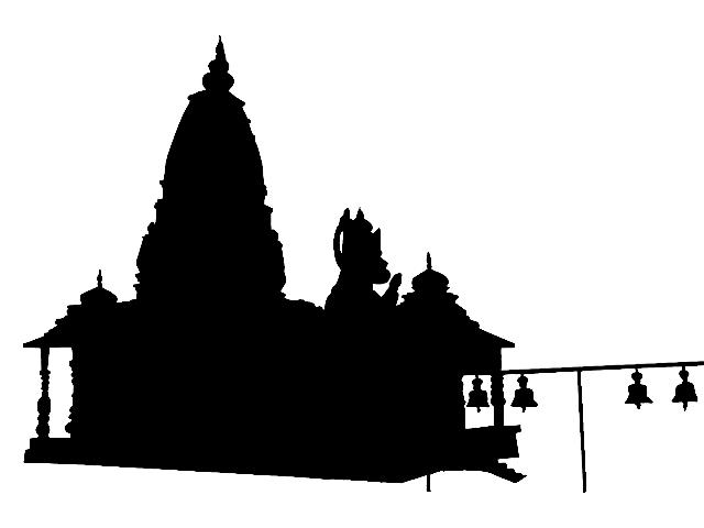hanuman temple silhouette