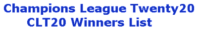 CLT20 Winners List