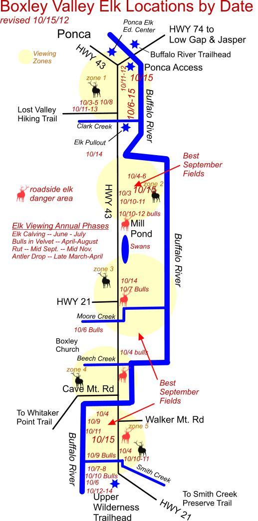 Elk Herd Locations in Boxley Valley 10/15/12